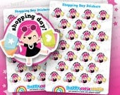 25 Cute Shopping Day Girl Planner Stickers, Filofax, Erin Condren, Happy Planner, Kawaii, Cute Sticker, UK