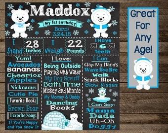 Polar bear first birthday, boy first birthday chalkboard, winter chalkboard, winter theme party, first, second, third, snow, polar bear, 3
