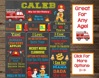 boy's first birthday chalkboard, boy's firefighter bday, firefighter theme, fire truck bday, fireman party, boy's fireman decoration, 2nd