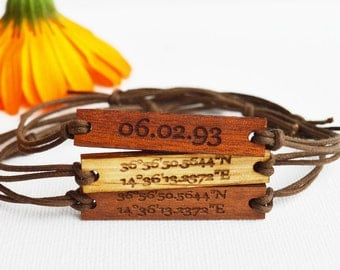 Coordinates Bracelet in Wood, Walnut, Mahogany or Oak Latitude Longitude Bracelet on Cotton String