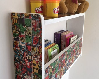 40cm H x 64cm W Handmade White Marvel Comic Pine Childrens, Book case, Book Shelves, Bedroom Shelves, Toy Storage.