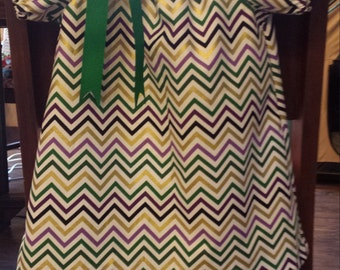 girl mardi gras chevron print peasant dress