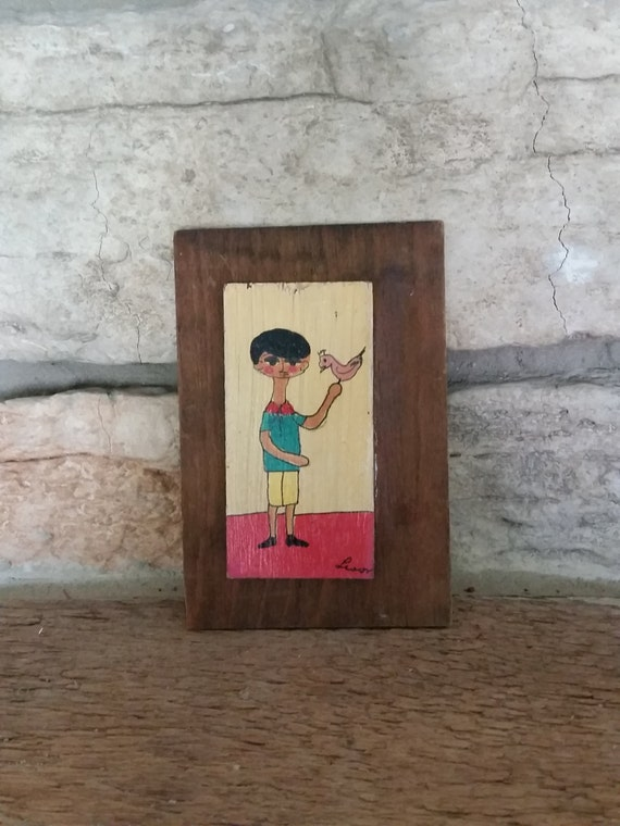 Mexican Folk Art Painting | Small Vintage Painting of Boy And Bird On Wood | Made in Mexico | Vintage Travel Souvenir