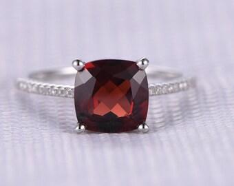 Garnet Engagement ring,14k White gold,8mm Cushion Cut stone,diamond Bridal Ring,thin wedding band,Personalized for her/him,Custom ring