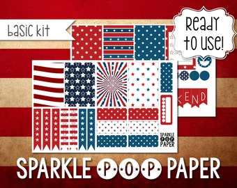 Stars and Stripes Weekly Layout Stickers for MAMBI Happy Planner