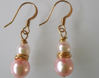 Pink and Cream Pearl dropper earrings