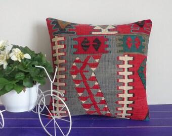 16x16  kilim pillow hand woven pillow wool cushion - 080a