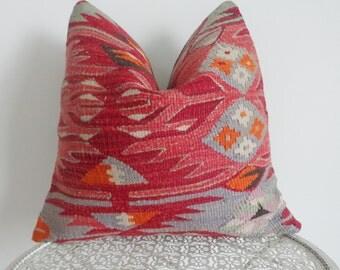 40x40cm red kilim pillow wool cushion pillow - 175a