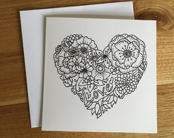 Handmade Floral Love Greeting Card / Botanical Illustration / Black & White / Adult Colouring