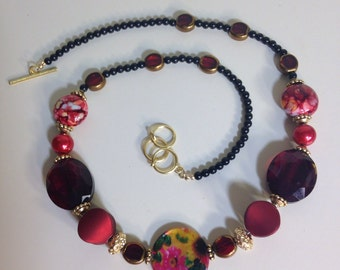 Red Black statement Necklace, beaded necklace, Jesse James beads, statement necklace, big bold chunky necklaces, womens gift