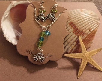 Crab necklace/earring set
