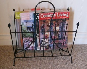 Wrought iron Magazine Rack, Metal Magazine Holder, Vintage Black Magazine Rack