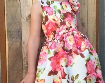 Girls rose print dress 3-4