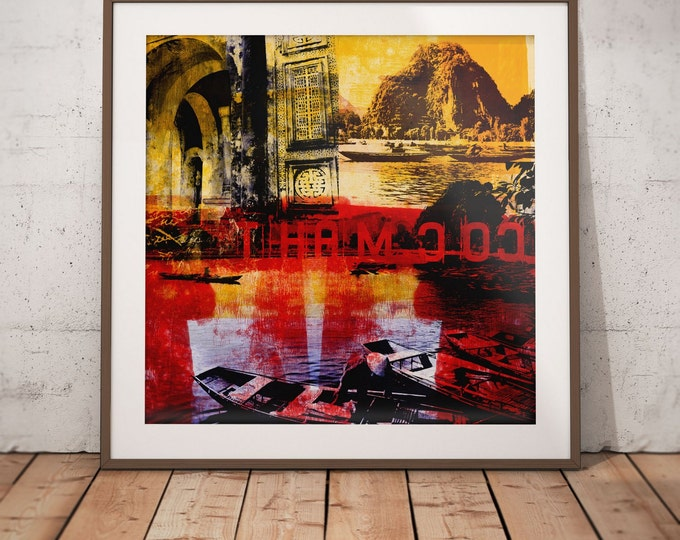 Vietnam Mixed Media XVII by Sven Pfrommer - Artwork is ready to hang with a solid wooden frame