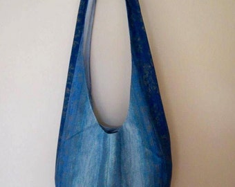 SALE - Blue 'Bucket' Bow-strap Shoulder Bag