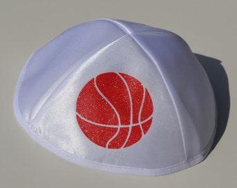 White kippah, Printed kippah, Satin kippah, Jewish, Kippah, Yarmulke, Basketball kippah, Basketball, Symbol of Judaism, Sports fan