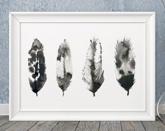 Feathers painting, wall art, inky feathers, hand painted, black and white, picture, illustration, print, choice of sizes perfect gift!