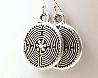 Silver Labyrinth earrings / Silver Celtic labyrinth earrings