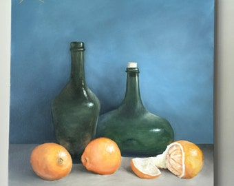 Original still life Orange Art Oranges Painting Food Art Traditional painting Vase Art Handmade Painting Kitchen Decor Orange Wall art