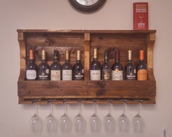 Rustic Wine Rack Made From Reclaimed Wood, kitchen shelf, antique pine finish