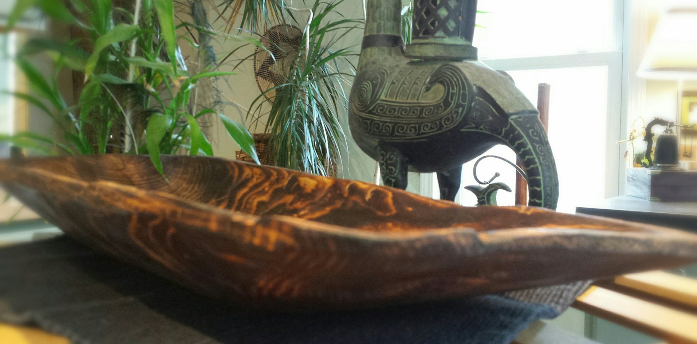 Wood long bowl handmade centerpiece fruit rustic
