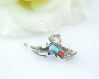 Southwestern Multi-Stone Curved Feather Post Earrings Sterling Silver 3.9g Vintage Estate
