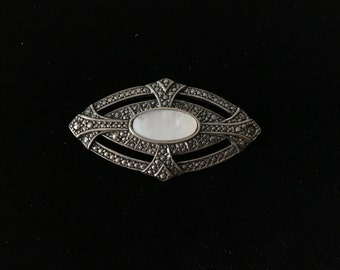 Vintage Brooch, Silvertone  with Soapy White Stone