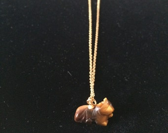 Vintage Necklace, Goldtone, Small Brownish Stone Cat