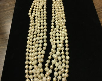 Vintage Multi Strand Necklace, Pearl like Beads