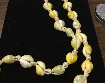 Vintage Seashell Necklace, Yellows, Greens & Tans