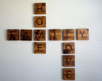 Vintage Scrabble Letters, Scrabble Letters, Vintage Wood Letters, Custom Word Letters, Pallet Wood Letters, Reclaimed Wood Letters