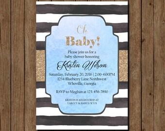 Baby Shower Invitation, Blue Baby Shower Invitation, Boy Baby Shower Invitation, Printable Baby Shower Invite, Modern Baby Shower Invite