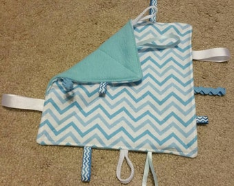 Blue-chevron-teething toy- sensory toy-security blanket- crinkle toy- baby shower gift