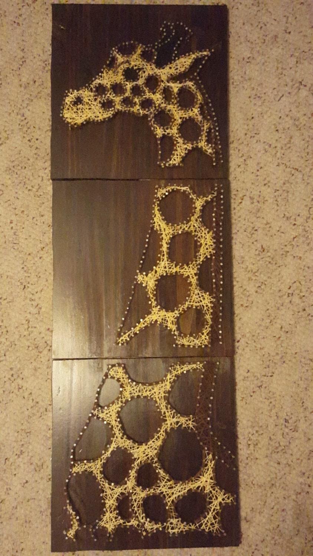 Giraffe String Art String Giraffe Gift For Her 3 Panel Giraffe Nail