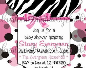 baby girl shower invitation (zebra and polka dots)