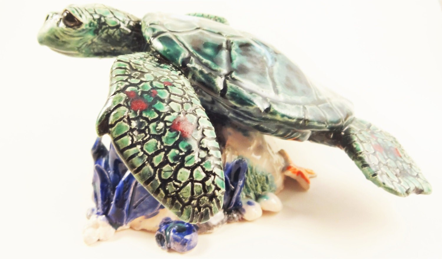 Turtle with cave aquarium decoration ooak by theartistjess for Aquarium cave decoration