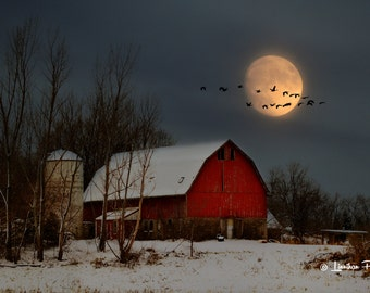 Red Barn in Winter # 92