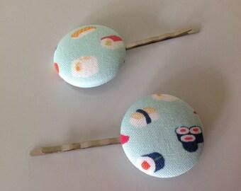 Sushi, sushi bobby pin, Sushi  fabric covered button bobby pin pair
