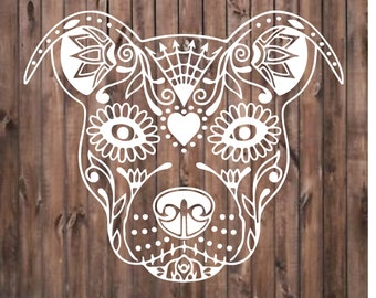 Pit Bull Sugar Skull decal.  Perfect for windows, cars, office, home decor and more.  Permanent decal