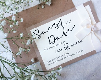 rustic save the date card with ribbon, shabby chic wedding, rustic wedding
