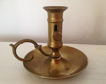 Vintage small adjustable brass candlestick , chamberstick, push up candleholder