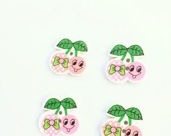 Pink Cherries Button - Scrapbook Supply Embellishment Cherry Button - Flat Back Wooden Buttons - Shankless Craft Button Embellishment Notion