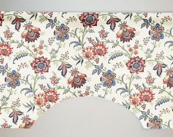 Waverly Island Gem Jacobean Floral Custom Valance Curtain, Jewel