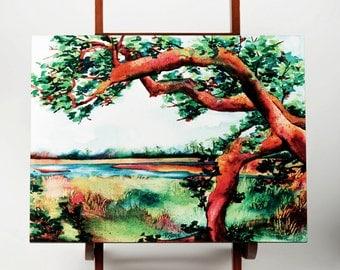 Marsh View Painting, Beach Decor, Coastal Decor, Watercolor, Bald Head Island