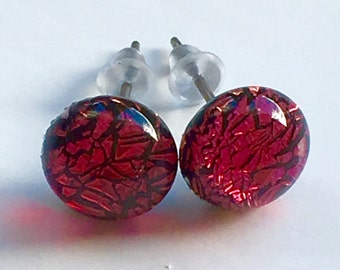 Dichroic Glass and 925 Sterling Silver Stud earrings ~ Sarsaparilla