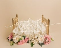 Digital Background Newborn Gold Cot with White wool layers and white/pink roses flowers Photography JPG file