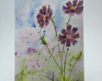 Postcard - Original Watercolor Print of Wildflowers