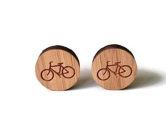 Bicycle cufflinks, bike cufflinks, wood cuff links, bicycle jewelry, cyclist cufflinks, engraved bicycle cufflinks, bicycle wood cufflinks