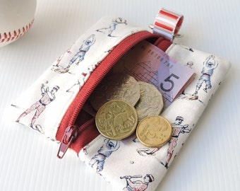 Zip purse, keychain, bag clip, coin purse in vintage styled baseball fabric