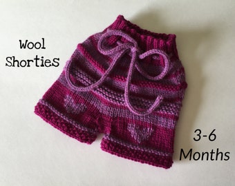 Wool Shorties Heart Hand Knit 3-6 Months Soaker Diaper Cover Baby Girl